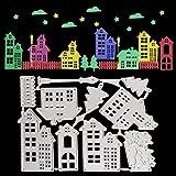 OOTSR Fustelle Stencil Cutting Dies, Casa di Natale Fustelle, Modello per Goffratura Fustelle in Metallo per Fai Da Te Biglietti d'Auguri Scrapbooking Album