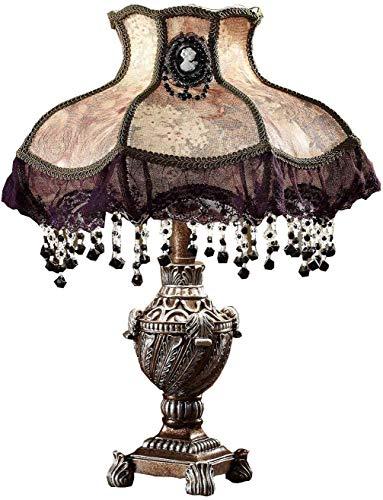 U'Artlines Tischlampe und Nachttischlampe Prinzessin Pastoral Kreative Luxus Dekoration Lampenschirm Harz und Stoff Anhänger Acryl Höhe 56cm(Lila)