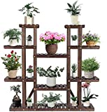 "VIVOSUN 9 Tier Wooden Plant Stand Carbonized 17 Potted Flower Shelf Display Rack Holder 44.5"" High Flower Stand for Patio Garden Balcony Indoor Outdoor"