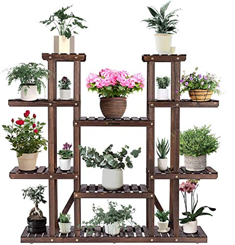 VIVOSUN 9 Tier Wooden Plant Stand Carbonized 17 Potted Flower Shelf Display Rack Holder 44.5' High Flower Stand for Patio Garden Balcony Indoor Outdoor