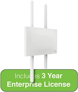 Cisco Meraki Dual-Band 4-Radio 2x2 MIMO 802.11ac Wave 2 Outdoor Access Point w/3 Year Enterprise License, 4 Dual-band Omni Ant.