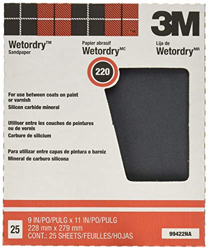 3M Pro-Pak Wetordry Sanding Sheets, 220A-Grit, 9-In by 11-In, Pack of 25 (88598NA)