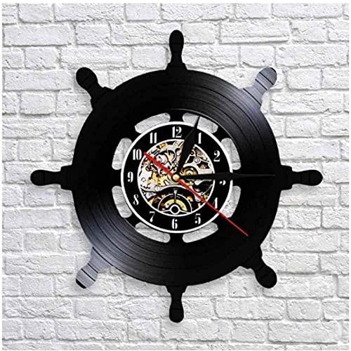zgfeng Reloj de Pared de Vinilo Yate Ancla Navegación Disco de Vinilo Reloj de Pared Regalos creativos Niños y niñas Amigos Adolescentes Diseño de Arte único Reloj de Pared de Vinilo-con LED