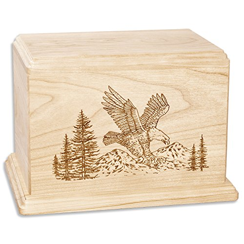 American Eagle Memorial Cremation Urn Made in The USA from Premium Solid Wood & Laser Carved with Soaring Eagle (Companion Urn (400 Cubic inches), Maple)
