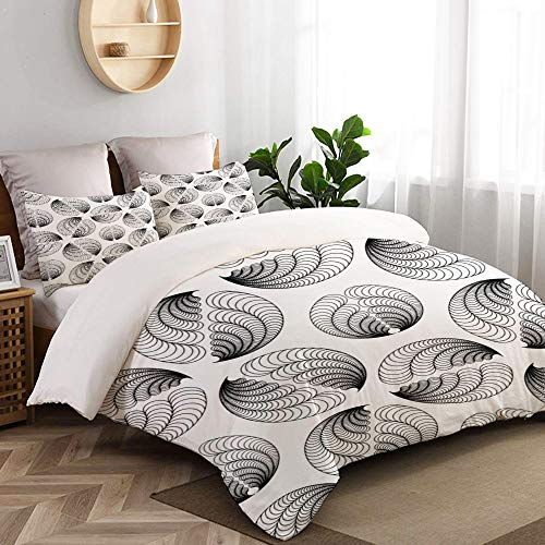 VORMOR Bettwäsche-Set 3 Teile,abstrakte Vektor Nahtlose Muster flügelähnliche Figuren,weich und angenehm (160x220cm) Bettbezug mit 80x80cm Kissenbezug