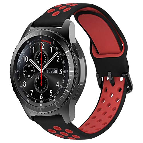 MroTech Correa Silicona 22mm Compatible para Samsung Gear S3 Frontier/Classic/Galaxy Watch 46mm Pulsera de Repuesto para GTR 47MM/Huawei Watch GT/Active/Elegant/GT2 46mm 22 mm Watch Band, Negro/Rojo