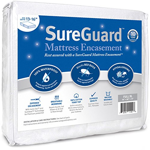 Full XL (13-16 in. Deep) SureGuard Mattress Encasement - 100% Waterproof, Bed Bug Proof, Hypoallergenic - Premium Zippered Six-Sided Cover - 10 Year Warranty