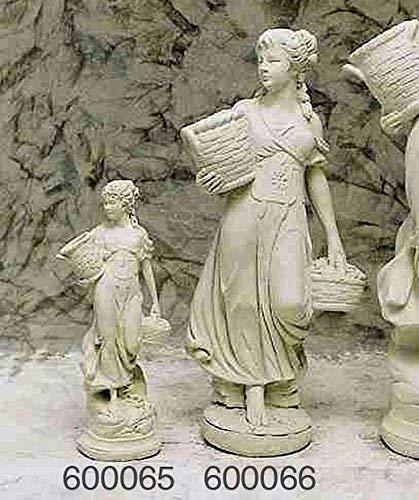 pompidu-living Blumen-Mädchen, klein, Steinfigur, Gartenfigur Farbe Hellgrau Farbe Hellgrau