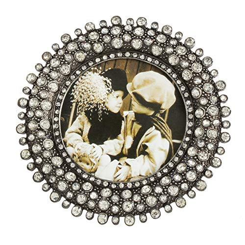 SARO LIFESTYLE Round Jeweled Photo Frame, 3' x 3', Silver