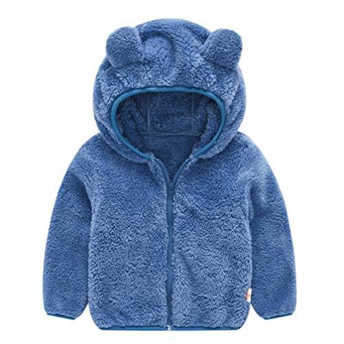 Fenical warme Kapjacke des niedlichen Bärnform-Plüschwinters des Baby-Fauxpelz-mit Kapuze Mantels für Babyjungen-Mädchenkleinkind, Blau, 80