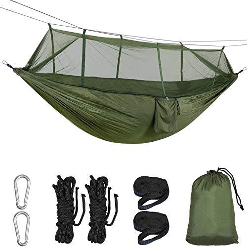 Proster Hängematte Outdoor, Ultraleichte Moskito Netz Camping Hängematte, 300kg Tragfähigkeit Nylon-Spinning Hammock, mit 2 x Karabiner, 2 x Seile, für Reisen, Camping, Strand(260 x 140cm, Grün)