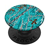 TURQUOISE BACKGROUND TREE BRANCH STYLE CAMOUFLAGE PopSockets PopGrip: Swappable Grip for Phones & Tablets