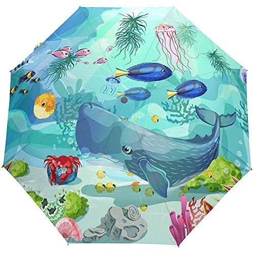Bunter Fisch-Blauer Wasserseeweltoffener naher Sun-Regen-Regenschirm