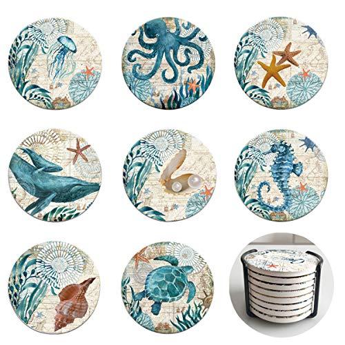 Lumuasky Posavasos absorbentes con soporte, juego de 8 unidades, diseño de mar y playa, temática tropical para inauguración de casa, apartamento, cocina, salón, bar, base de corcho
