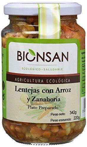 Bionsan Lentejas Cocidas con Arroz Integral y Zanahoria Ecológicas -