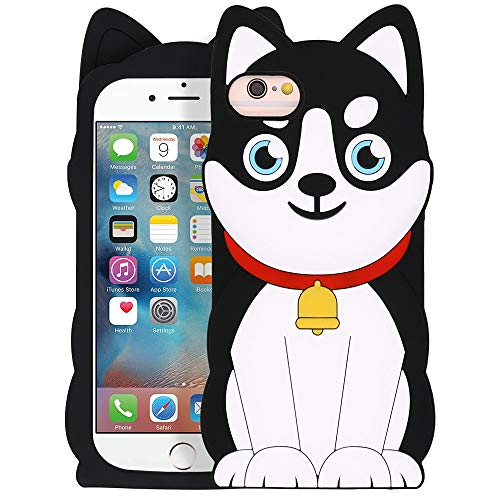 YONOCOSTA Cute iPhone 6 Case, iPhone 6S Case, Funny 3D Cartoon Animals Husky Dog Pets Shaped Soft Silicone Full Protection Shockproof Back Cover Case for iPhone 6 / iPhone 6S (4.7' Inch)