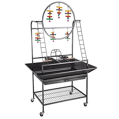 Yescom Large O Pet Parrot Play Stand Bird Cage Gym Perch with Feeding