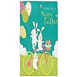 Frohe Ostern Kaninchen auf Fahrrad Ei weiches Bad Hotel Spa Hand Gym Sporttuch