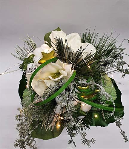 Weihnachtsstrauß Nr.19 - mit weißen Amarillis und LED-Licherkette - Strauss künstlich Winter - Liegestrauß Seidenblumen Handstrauß Blumenstrauss Winterstrauss