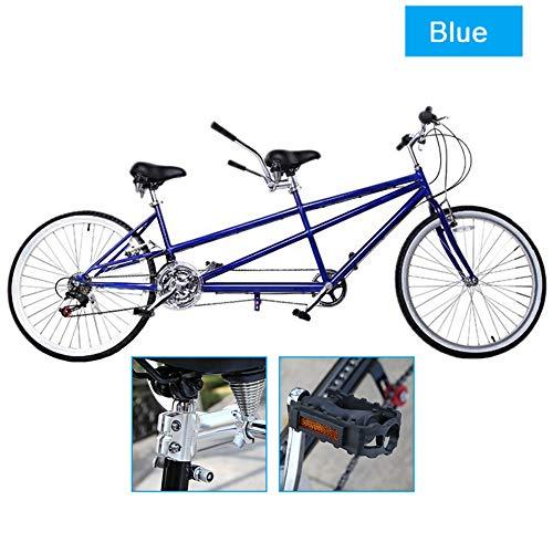 LUCKFY 26-Zoll-Tandem-Fahrrad - Paar Fahrrad - Gerader Strahl Eltern Kinder Doppel Reiten Verkehrsmittel Fahrrad Scenery Sightseeing Fahrrad Bikes,Blau