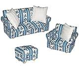3 tlg. Set: Miniatur Wohnlandschaft / Sofa Couch + Sessel + Hocker mit Kissen - für Puppenstube...