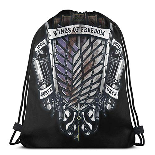 IUBBKI At-tack Titan Survey Corps Crest Drawstring Bag Sport Gym Mochila Almacenamiento Goodie Cinch Bags