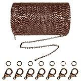 Jerbro 33 pieds en acier inoxydable DIY chaîne à maillons collier avec 20 fermoirs mousquetons et 30 anneaux pour fabrication de bijoux 1,5 mm