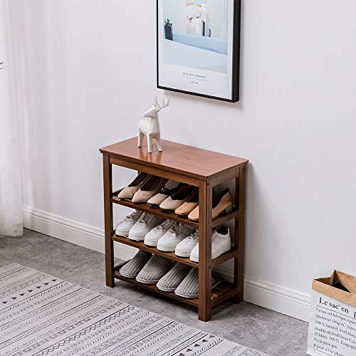 HSTD New Shoe Bench, 6 Tiers Bamboo Shoe Rack With Shoes Storage Shelf Hallway Shoe Storage Bench Organizer,Modern Simplicity, High 65cm 60cm