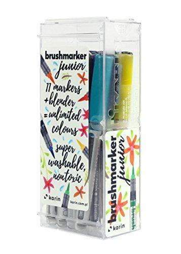 KARIN 27C10 Brushmarker Junior Basic Colours Set inclusief blender, zwart, 12 stuks