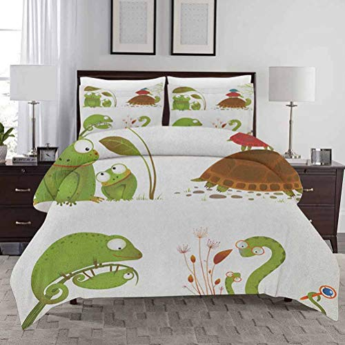 Reptile Bedding Duvet Cover Set Full Size Reptile Family Colorful Baby Collection Snake Frog Ninja Turtles Love Mother Bedding - Lightweight and Soft Decorative 3 Piece Bedding Set with 2 Pillow Shams