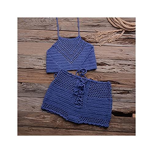 Hecho a Mano Crochet Bikini Set Ladies'Kn'n'knited Trajes de baño Surfing Ropa Femenino Hueco Sexy Traje de baño Mujer Hot Hot Sexy Cintura Estilo (Color : Blue, Size : S)