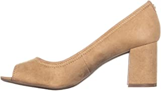 Womens Meredith Leather Peep Toe Classic Pumps, Natural,...