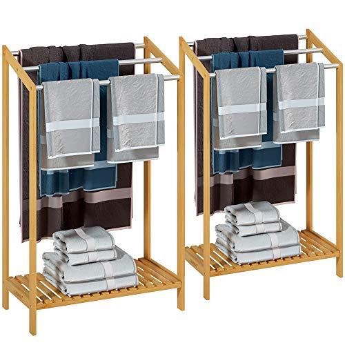 Casaria 2X Handtuchhalter Bambus 3 Edelstahl Stangen treppenförmig Ablage Handtuchständer Handtuchstange freistehend Bad