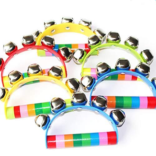 Sonajero, 6 PCS Color al Azar Arco Iris Mango de Madera Campanas Jingle Stick Shaker Sonajero Bebé Niños Instrumento Musical Juguetes