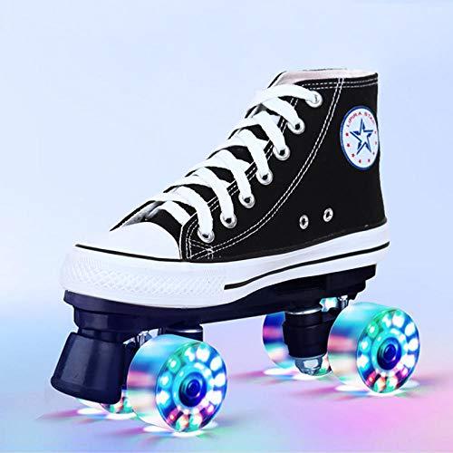 Longxs Disco Roller, Eisbahn professionelle Coole LED blinkende Rollschuhe Zweireihige Rollschuhe Erwachsenensport für Mädchen und Jungen-38
