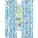 YUAZHOQI Cortina opaca con diseño de afluentes de mar y vidrieras ornamentales onduladas para personalizar cortinas de 132 x 160 cm
