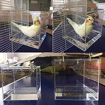 SUNERLORY Baignoire pour oiseaux, cage à oiseaux, maison de bain avec crochet de suspension en métal, pour la plupart des cages à oiseaux Parrot Budgie Cage spacieuse – Portable (L.)