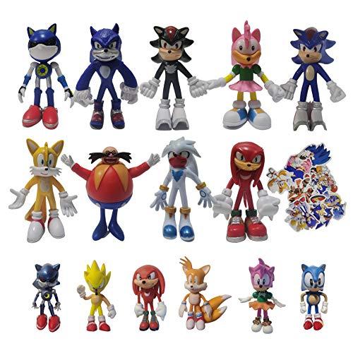 Juguetes Sonic Mini figuras de Sonic suministros de fiesta de cumpleaños temáticos de Sonic figuras de cupcakes sónicos suministros de decoración de pasteles de fiesta