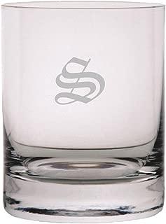 Old English Etched Monogram 11oz StolzleNew York Crystal Rocks Glass (Letter S)