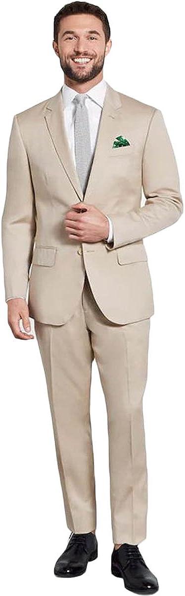 Newdeve Khaki Men's Business Suit Slim Fits Blazer Jacket