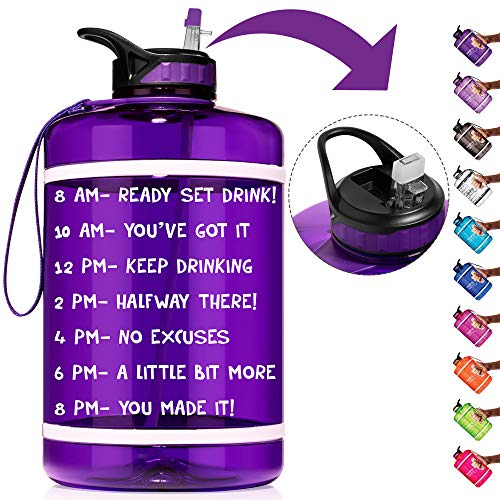 HydroMATE 1 Gallon Straw Motivational Water Bottle with Time Marker Large BPA Free Jug Handle Time Marked 5 Drink Marking Measures to Track Daily Water Intake One Gallon Hydro MATE (Gallon, Purple)
