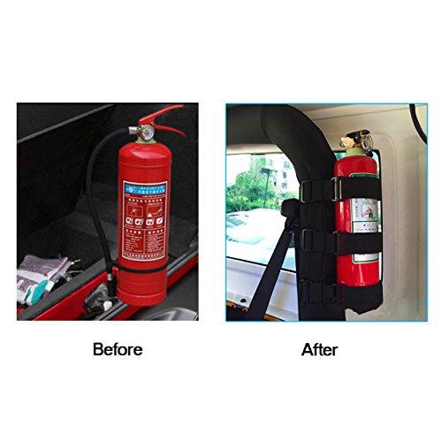 VXAR Fire Extinguisher Holder Adjustable Roll Bar Mounted for Auto Car UTV(ABS Black)