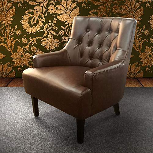 Loungesessel Lederlook Chesterfield Dark Coffee Glossy Sessel gepolstert Relaxsessel braun