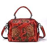 T-ara El Nuevo Señoras New Leather Messenger Bag Casual Bills Hombro Separatrix Retro Postman Raised Bag Imprescindible para el Senderismo (Color : Red, Size : 25 * 18 * 15cm)