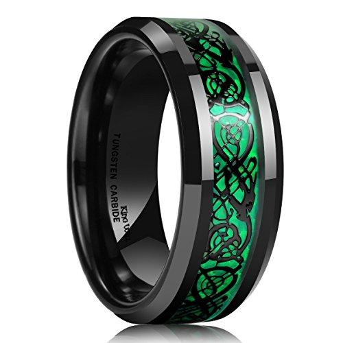 King Will - Anillo de matrimonio para hombre, fibra de carbono verde de 8 mm, con diseño de dragón céltico negro en carburo de tungsteno, ajuste cómodo