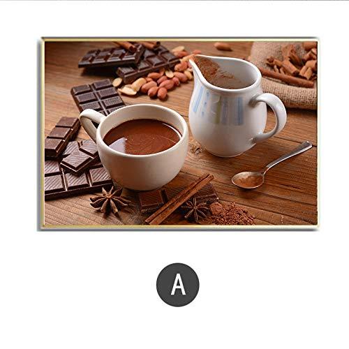Koffie Voedsel Stilleven Keuken Canvas Schilderij Kalligrafie Poster Print Woonkamer Huis Muurdecoratie Kunst Woondecoratie Foto 40x60cm Geen lijst