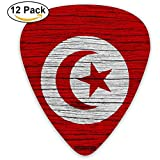 Tunisie Texture en bois Drapeau tunisien Médiator 12pcs