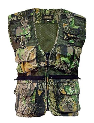 Stormkloth Veste d'extérieur sans manches pour homme multi poches Style chasse pêche Motif camouflage - vert - Medium