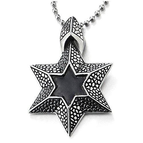 COOLSTEELANDBEYOND Textura Estrella de David Colgante con Negro Esmalte, Collar con Colgante de Hombre Mujer, Acero, Bola Cadena 75CM