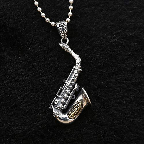 ESCYQ Vintage 925 Sterling Silber Anhänger,Vintage Kreative Bronze Saxophon Anhänger Einfach Atmosphäre Ohne Kette Geburtstag Geschenk Fashion Halskette Zubehör